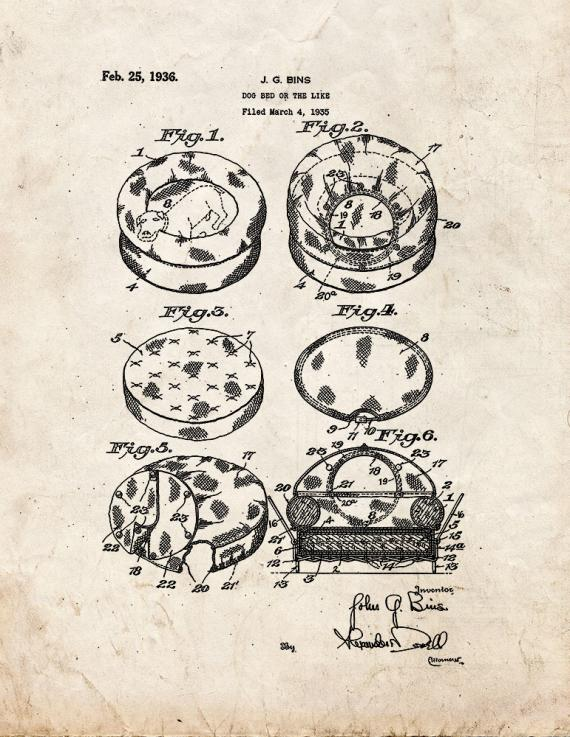 Dog Bed Patent Print