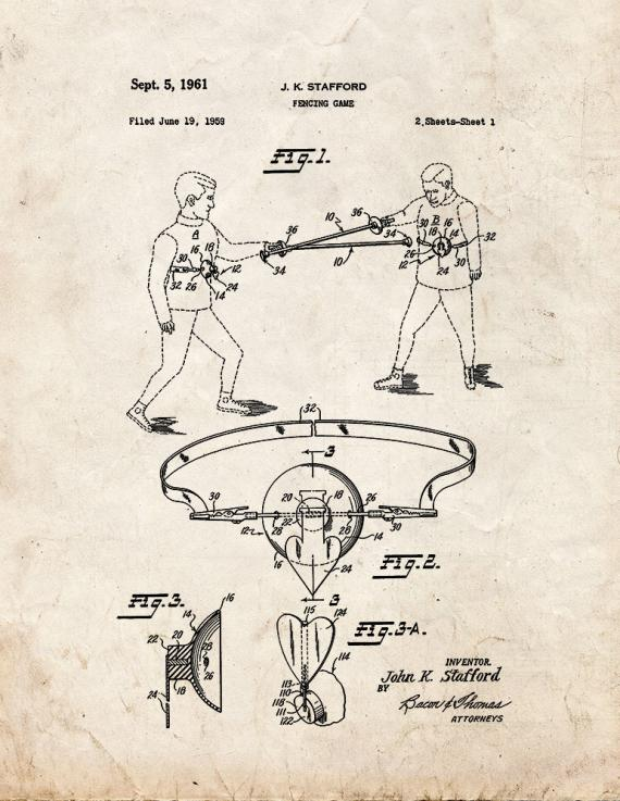 Fencing Game Patent Print