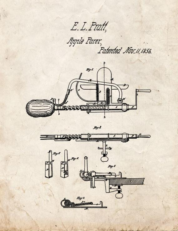 Apple Parer Patent Print