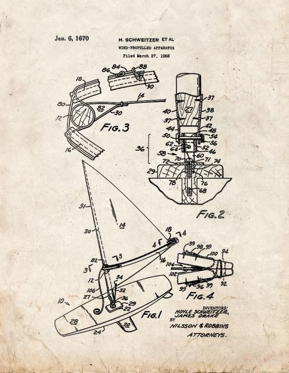 Wind-propelled Apparatus Patent Print