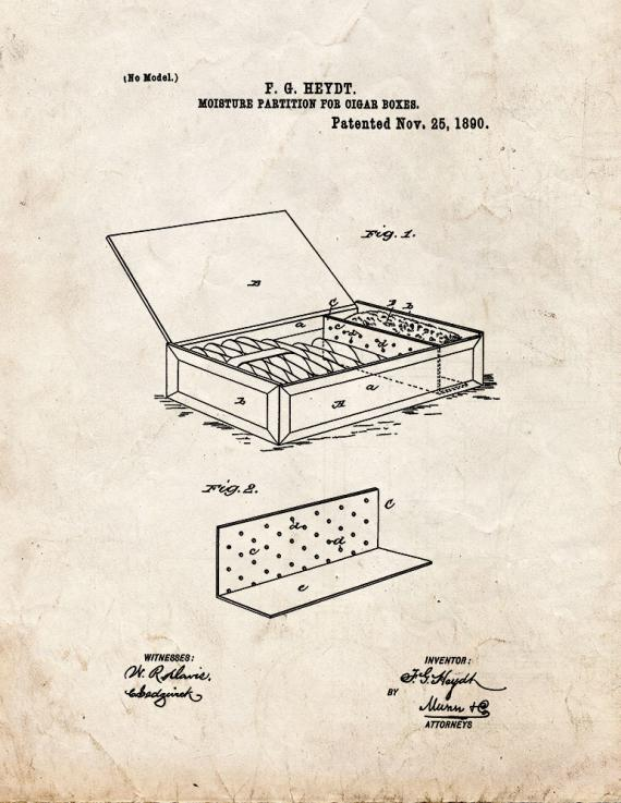 Cigar Box Patent Print
