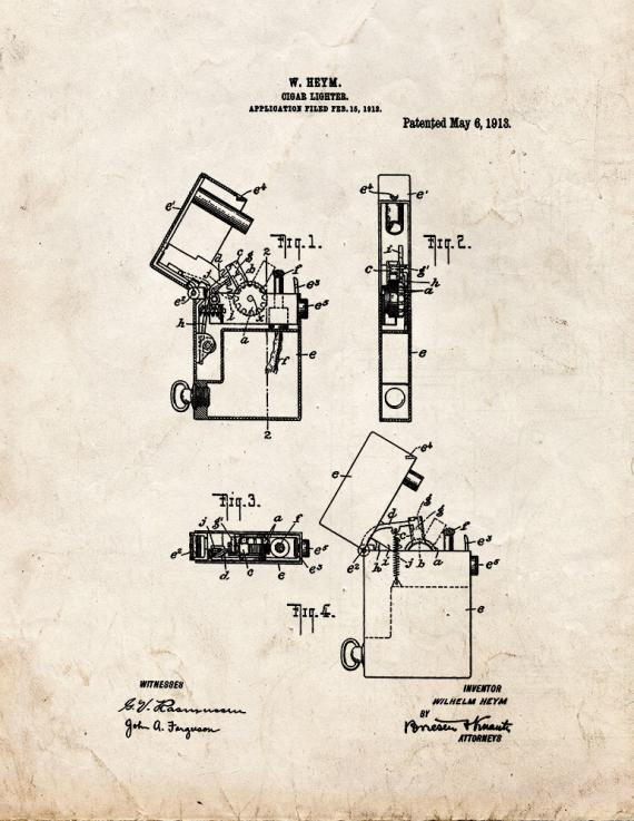 Cigar Lighter Patent Print