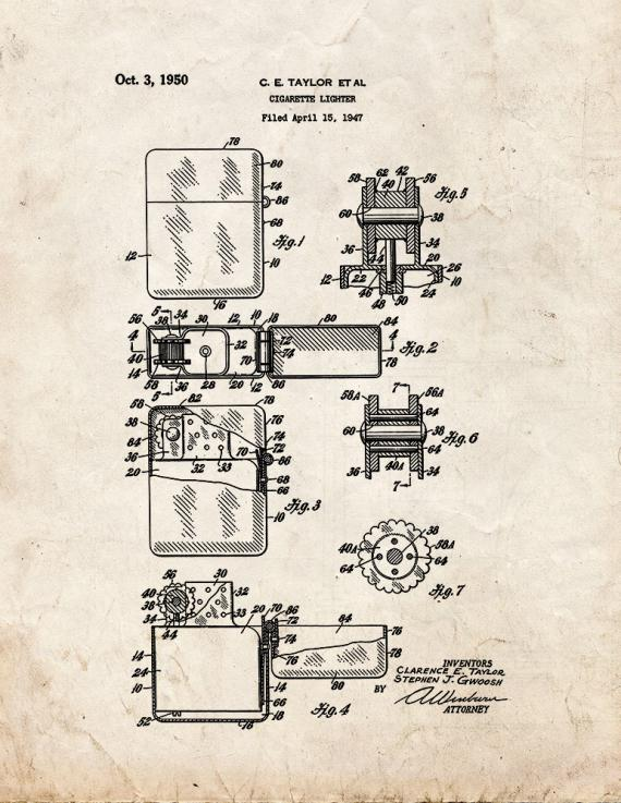 Cigarette Lighter Patent Print