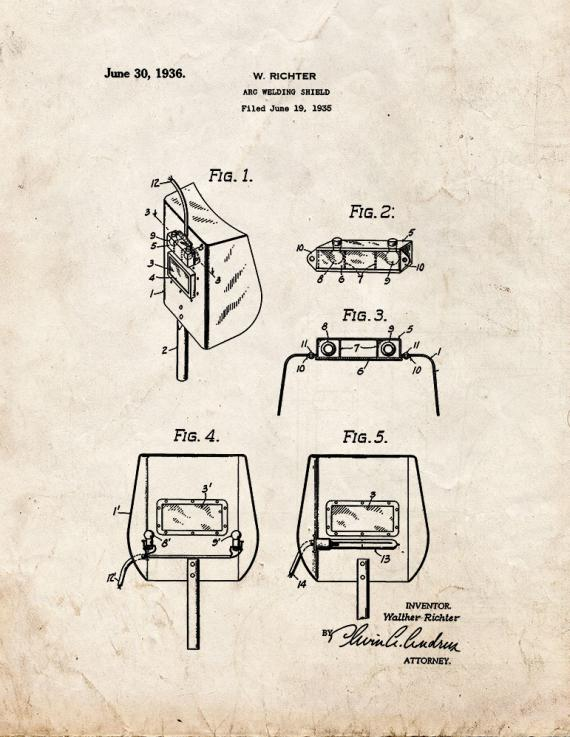 Arc Welding Shield Patent Print