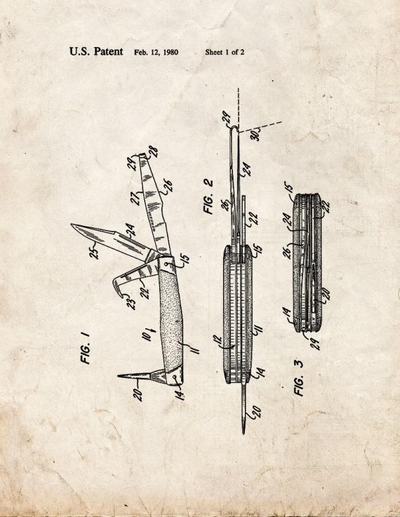 Horseman's Pocket Knife Patent Print