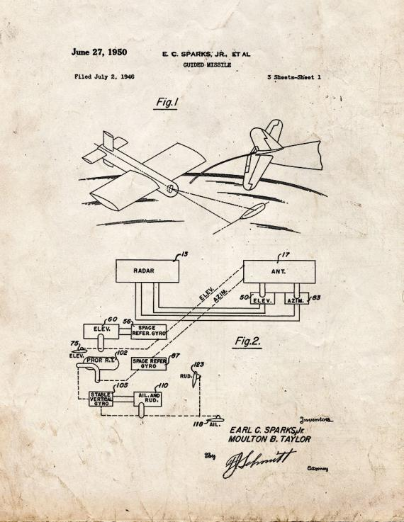 Guided Missile Patent Print