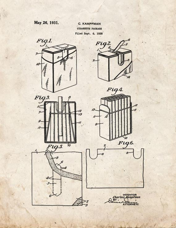 Cigarette Package Patent Print