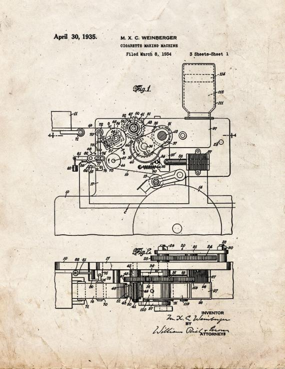 Cigarette Making Machine Patent Print