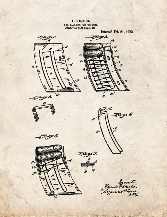Box Magazine for Firearms Patent Print