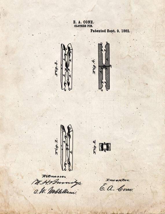 Clothes Pin Patent Print