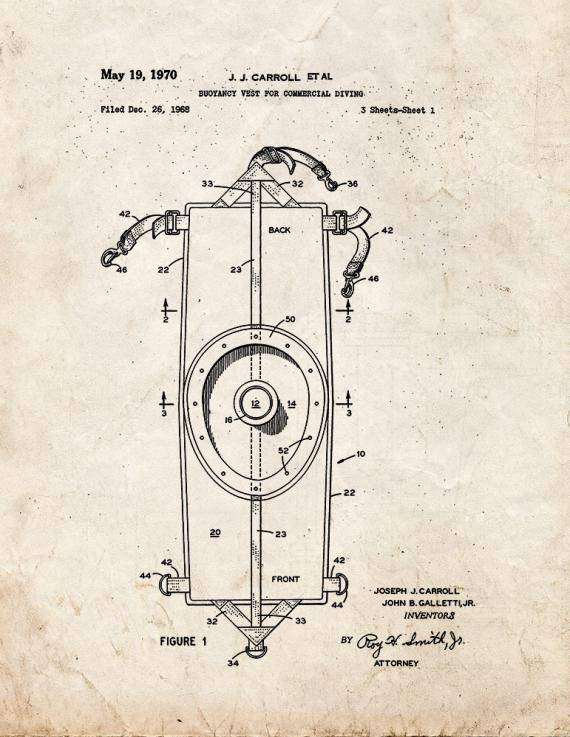 Buoyancy Vest for Commercial Diving Patent Print
