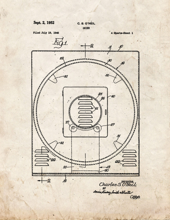 Clothes Drier Patent Print