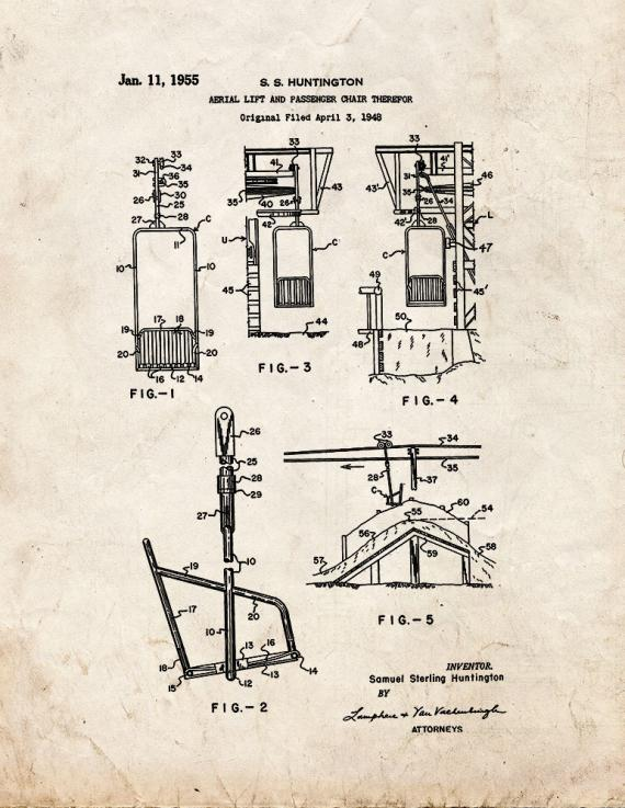 Aerial Lift and Passenger Chair Patent Print