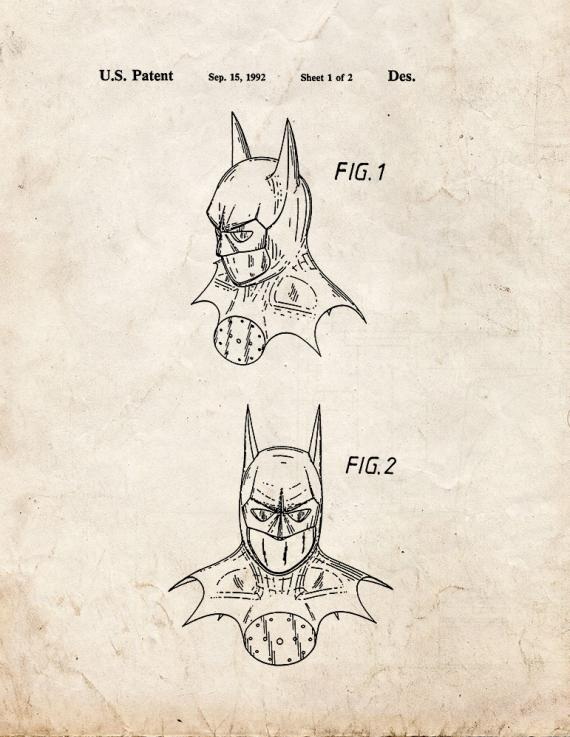 Batman Head Dress Patent Print