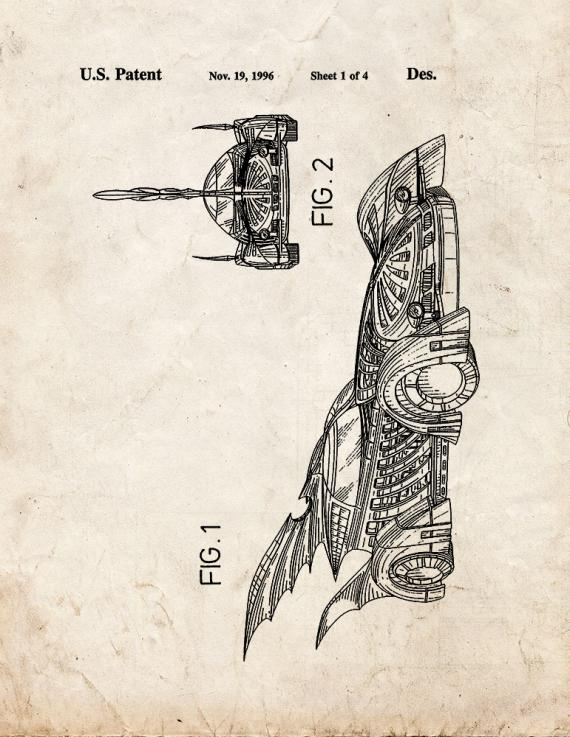 Batman Vehicle Patent Print