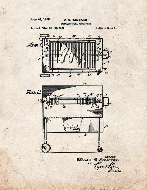 Barbeque Grill Attachment Patent Print