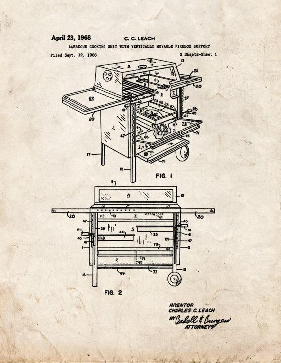 Barbecue Cooking Unit Patent Print