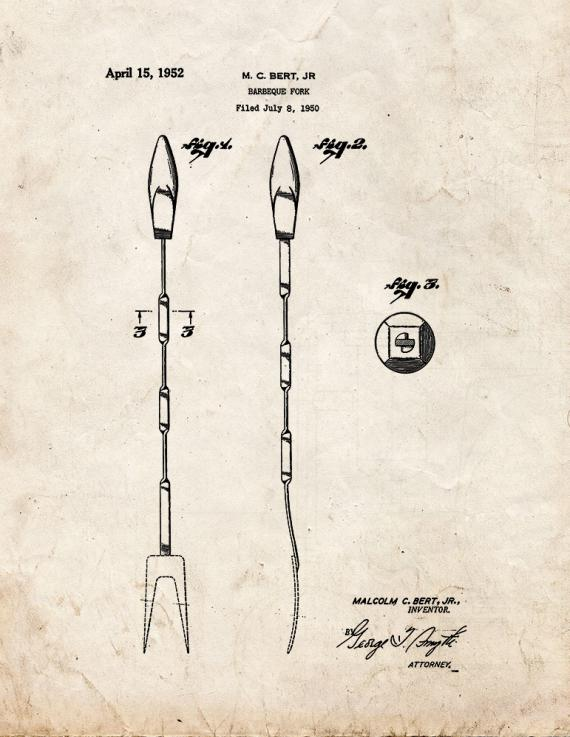Barbeque Fork Patent Print