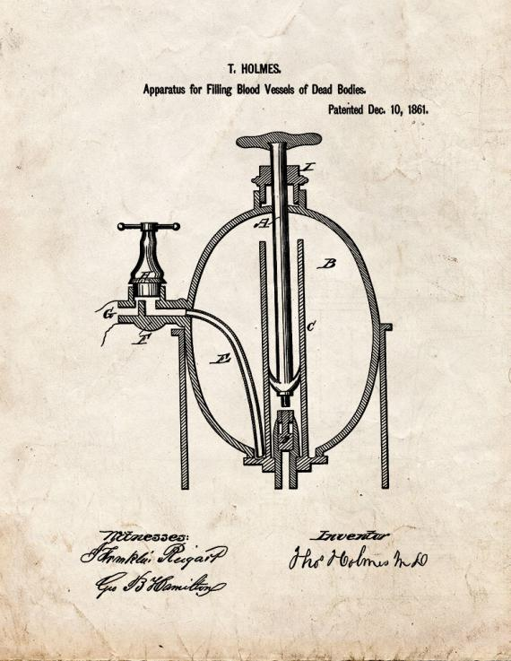 Improvement In Embalming Patent Print