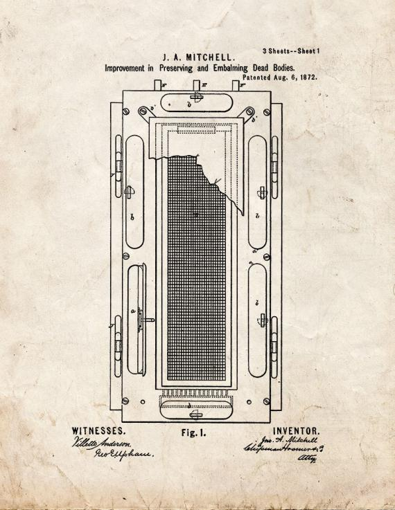 Improvement In Preserving And Embalming Dead Bodies Patent Print