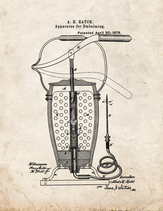 Apparatus For Embalming Patent Print