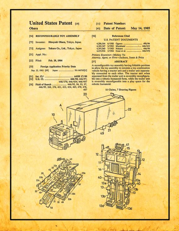 Transformers Optimus Prime Patent Print