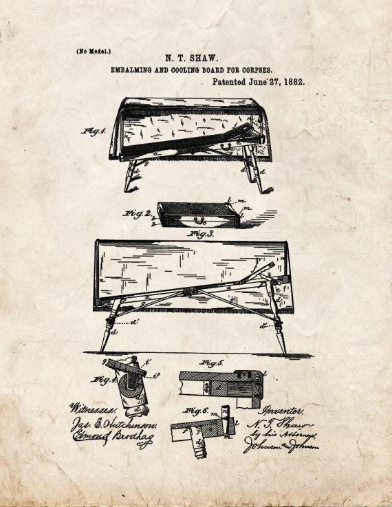 Embalming And Cooling Board For Corpses Patent Print