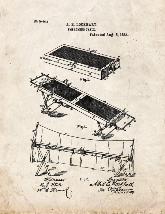 Embalming Table Patent Print