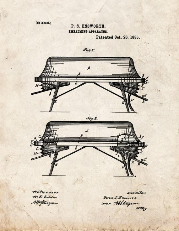 Embalming Apparatus Patent Print