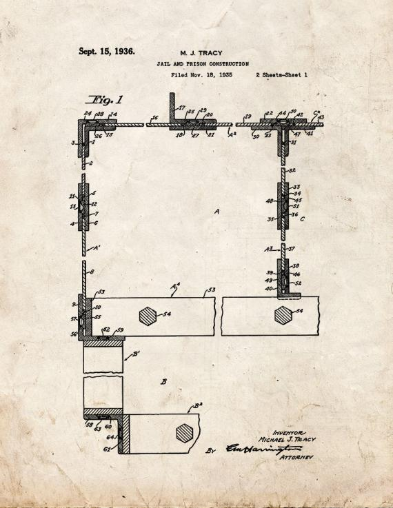Jail and Prison Construction Patent Print