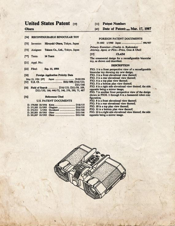 Transformers Reconfigurable Binocular Toy Patent Print