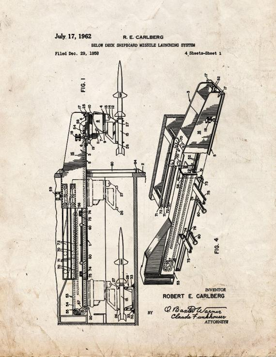 Below Deck Shipboard Missile Launching System Patent Print