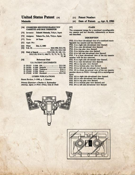 Transformers Combined Reconfigurable Toy Cassette And Box Patent Print