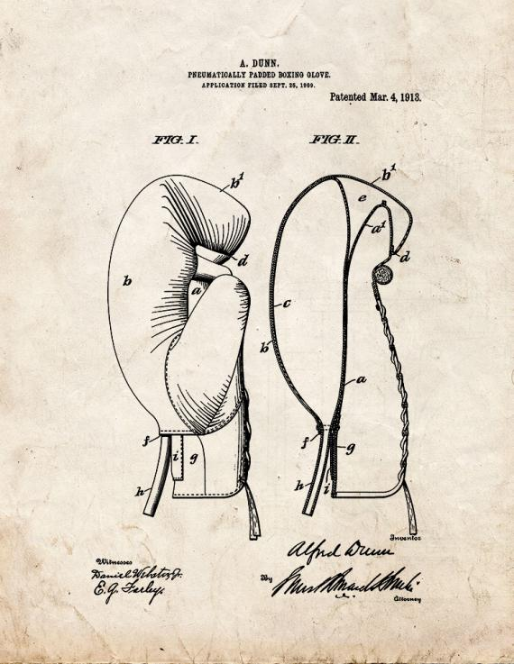 Pneumatically-padded Boxing Glove Patent Print