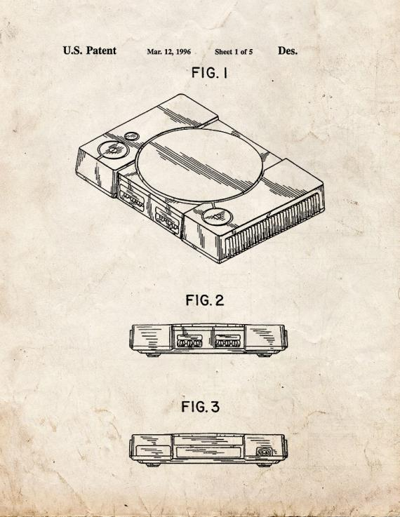 Playstation Game Console Patent Print