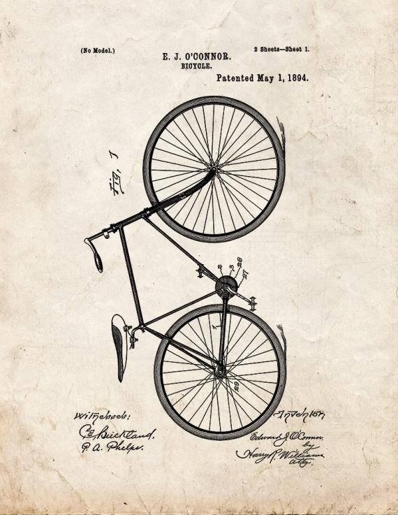 Bicycle Patent Print