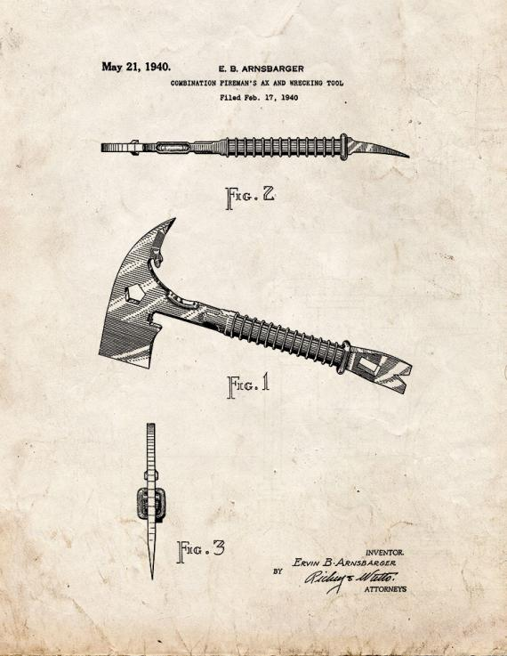 Combination Fireman's Ax And Wrecking Tool Patent Print