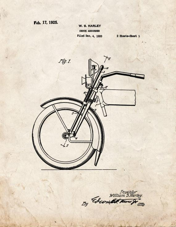 Harley Motorcycle Shock Absorber Patent Print