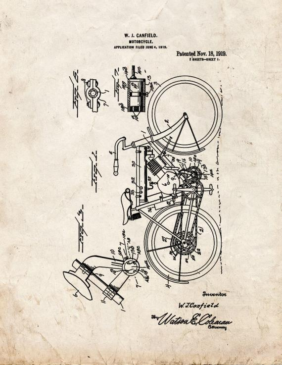 Motorcycle Patent Print