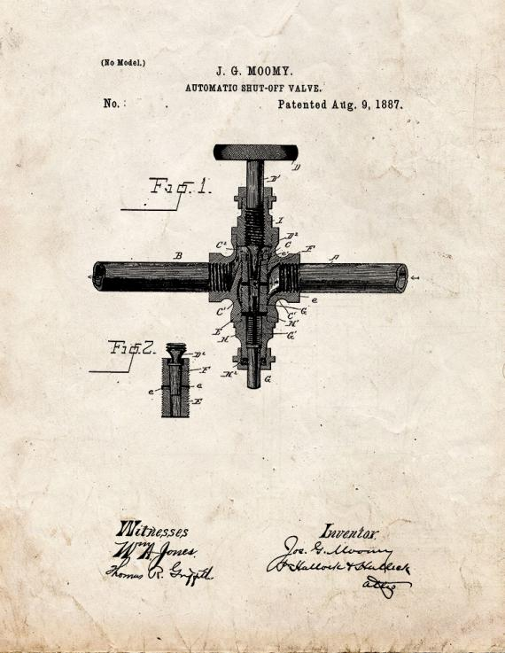 Automatic Shut-off Valve Patent Print