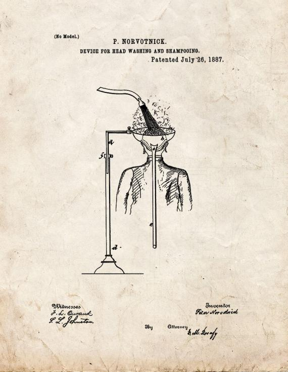 Device For Head Washing And Shampooing Patent Print
