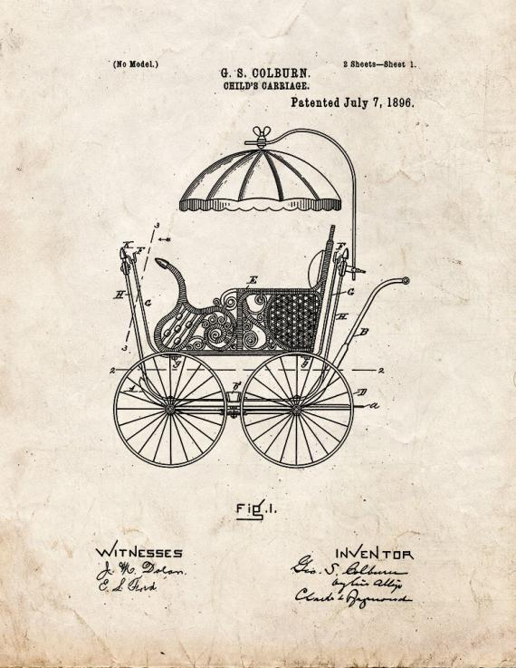 Child's Carriage Patent Print